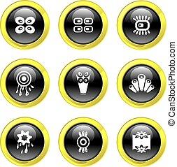 retro, icônes