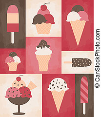 Retro Ice Cream Poster - Retro style poster with different...