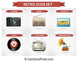 Retro icon set with different objects