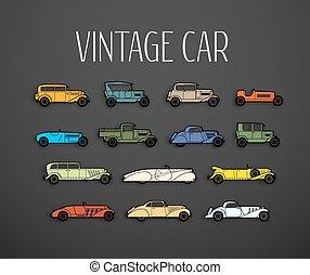 Retro icons set, different silhouette shape cars