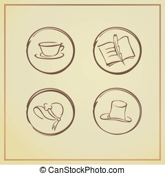 retro icons - vector illustration