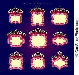 Retro illuminated movie marquee  set