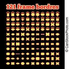 Retro illuminated movie marquee vector set.