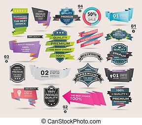 retro, illustratie, linten, set, vector, etiketten, banieren,