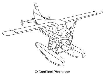 retro, illustratie, seaplane