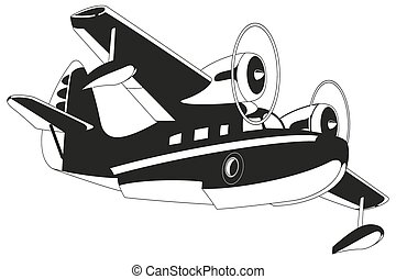 retro, illustratie, seaplane