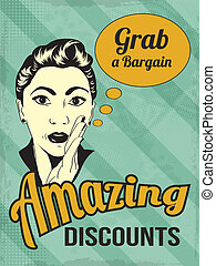 retro illustration of a beautiful woman and amazing discounts message