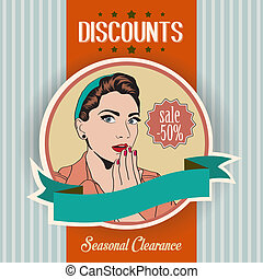 retro illustration of a beautiful woman and discounts...