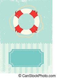 Retro illustration of life buoy - Retro illustration of...