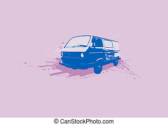Retro illustration of old stylish Volkswagen Transporter. Vector