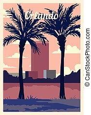 retro, illustration., orlando, skyline., affiche, vecteur, ...