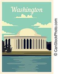 retro, illustration., skyline., vecteur, affiche, washington...