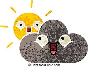 retro illustration style cartoon storm cloud and sun
