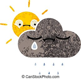 retro illustration style cartoon storm cloud and sun
