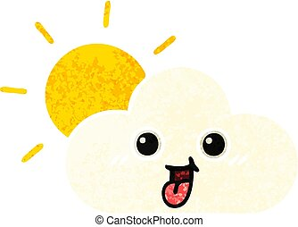 retro illustration style cartoon sun and cloud