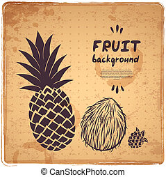 retro, illustrazione, ananas
