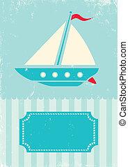 retro, ilustración, de, barco