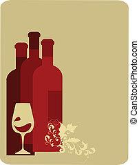 retro, ilustración, de, tres, botellas de vino, y, vidrio