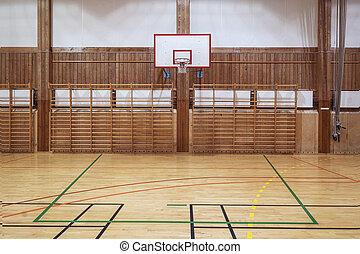 Retro indoor gymnasium - Basketball hoop in old gymhall
