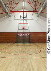 Retro indoor gymnasium - View from center court in old gym