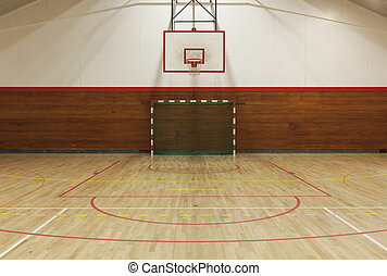 Retro indoor gymnasium - View from center court in old...