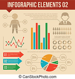 Retro Infographics Elements Set 2. Information and Ring Chart Diagram.