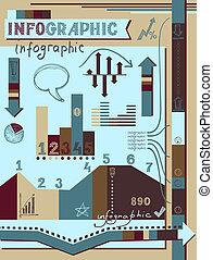 Retro infographics elements set