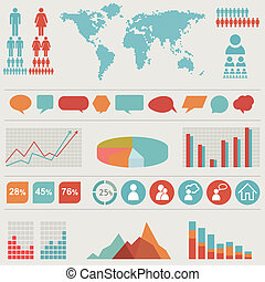 retro, infographics, set.