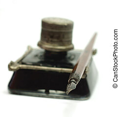 Retro ink bottle and Nib pen - Retro ink bottle with a metal...