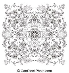 Retro insect adult coloring page, decorative insects with floral elements, stress relief page for coloring