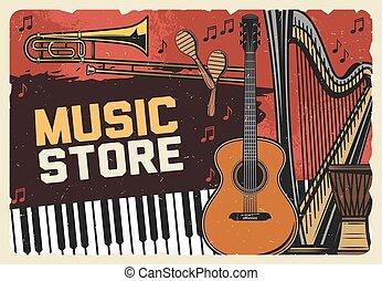 retro, instrumenten, poster, winkel, muziek, folk-music