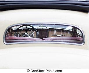 Retro interior of old vintage car.