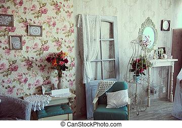Retro interior room studio with stylized antique walls