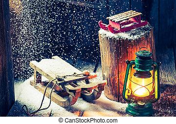 retro, inverno, capanna, come, uno, filosofia, hygge