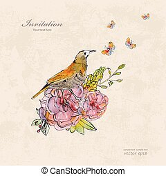 retro invitation card with cute bird and butterflies. watercolor