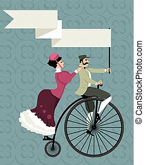 Victorian age couple riding a penny-farthing bicycle, holding an empty banner over their heads, EPS 8 vector illustration, no transparencies