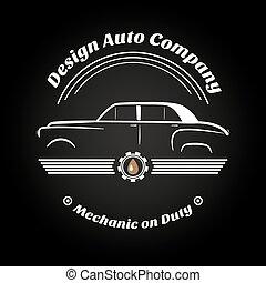 retro, jahrgangsauto, logo