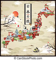 Japan travel map design - retro Japan travel map design -...