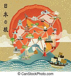 Japan travel poster design - retro Japan travel poster...