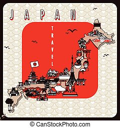 retro Japan travel poster design with attractions