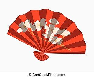 Retro Japanese Folding Fan Vector