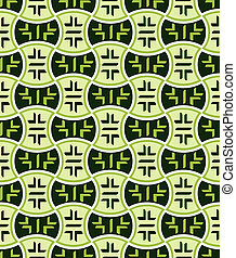 Retro japanese seamless pattern in green mood