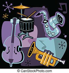 retro, jazz, instrumentos
