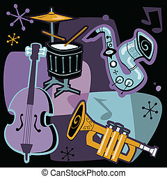 Retro Jazz Instruments - Retro style vector illustration of ...