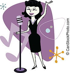 Retro Jazz Singer Cartoon - Cartoon of a female singer.