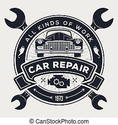 retro, jel, ábra, rendbehozás, klasszikus, szolgáltatás, szüret, autó., tervezés, fogalom, vektor, autó