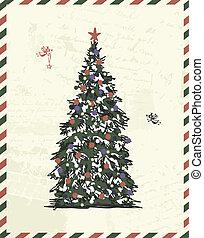 retro, jouw, kerstmis, schets, ontwerp, boompje, postkaart