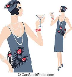 retro, joven, hermoso, niña, de, 1920s, style.