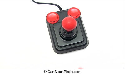 Retro Joystick - Female hands playing with an old joystick....