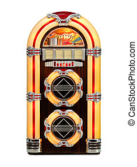 Jukebox classic, retro music disks player, isolated front view